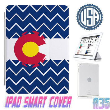 Colorado Flag Chevron Ipad Smart Cover @ IPad Air Smart Cover , IPad Mini Case , IPad 4 , Ipad 3 Ipad 2 Magnetic Sleep Wake  IPhone 5 4 Case