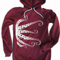Womens - OCTOPUS Tentacles (white ink) - American Apparel Fleece Hoody Dress