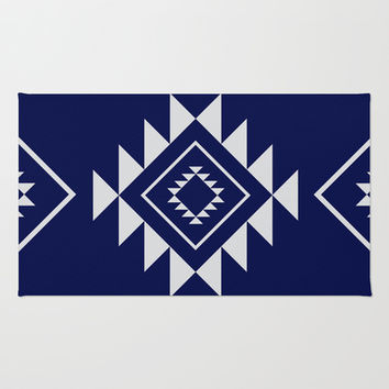 Navy Aztec Area & Throw Rug by Nicole Davis