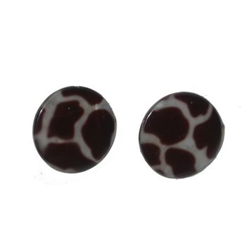 Leopard Print Earrings, Animal Print, Brown and Beige Posts, Round