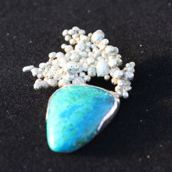 OOAK Chrysacolla and Reticulated Sterling Silver by LesleyPridgen