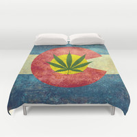 Retro Colorado State flag with the leaf - Marijuana leaf that is! Duvet Cover by LonestarDesigns2020 - Flags Designs +