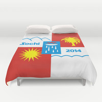 Sochi 2014 flag - Authentic version Duvet Cover by LonestarDesigns2020 - Flags Designs +