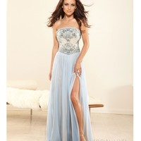 Terani 2014 Evening Dresses - Light Blue Chiffon & Baroque Beaded Evening Gown