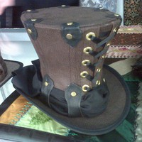 Lace-up Mini Top Hat Brown Faux Leather Totally Steampunk | GypsyLadyHats - Accessories on ArtFire