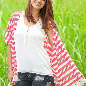 Let The Night Roll Cardigan-Coral