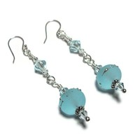 Earrings Aqua Lampwork Glass Crystals Sterling Silver Dangle Artisan