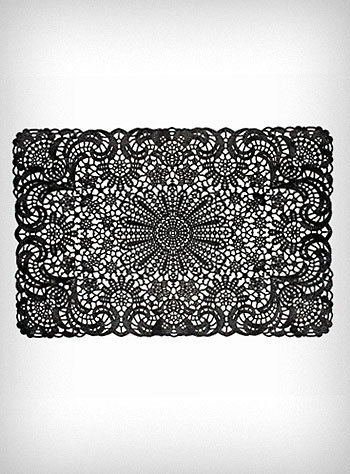 Black Filigree Party Placemats | PLASTICLAND