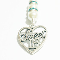 Sweet 16 Necklace /  Sweet Sixteen Jewelry / Sweet 16 Gift / Pearl Necklace / Heart Necklace / Sweet Sixteen Party / Teen Jewelry /  Gift