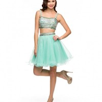 Preorder - Mint & Multicolor Sequin Two Piece Tulle Dress Homecoming 2014