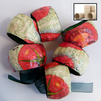 White and Red NAPKIN RINGS Upcycled paper mache by RecycoolArt