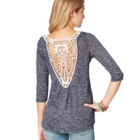 3/4 Sleeve Crochet-Back Hi-Lo Top