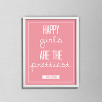"""Audrey Hepburn Typography Quote Poster. Happy girls are the prettiest. Minimalist and Modern. Bedroom or Nursery Poster. 8.5x11"""" print."""