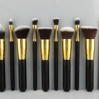 BESTOPE 10 Pcs Premium Synthetic Kabuki Makeup Brush Set Cosmetics Foundation Blending Blush Eyeliner Face Powder Brush Makeup Brush Kit
