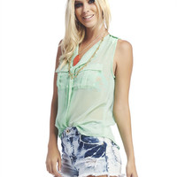 Sheer Chiffon Ruffle Tank | Wet Seal