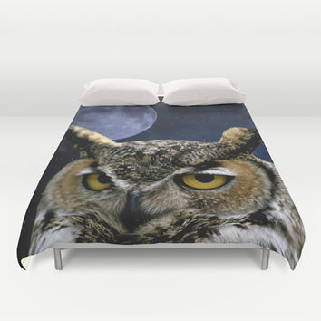 Owl and Blue Moon Duvet Cover by Erika Kaisersot