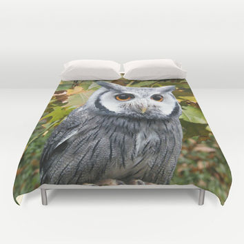 Owl and Leaves Duvet Cover by Erika Kaisersot