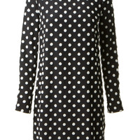 VICTORIA, VICTORIA BECKHAM BLACK SILK AND WHITE DOT DRESS