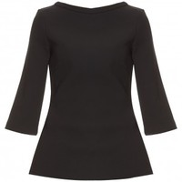 Boutique 1 - MARTIN GRANT - Black Top With Satin Trim | Boutique1.com