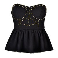 STUDDED PEPLUM TOP - Ally Fashion