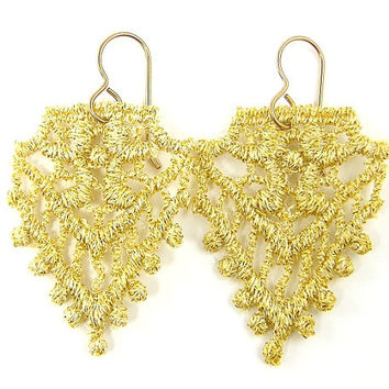 Gold Lace Earrings Delicate Dangle Metallic Textile Jewelry
