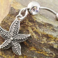 Seastar Belly Button Ring Belly Piercing by MidnightsMojo on Etsy