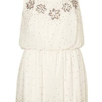BEADED FLOWER PLAYSUIT