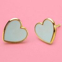 FredFlare.com - Mint Tea Mini Hearts - Gold Trim Mint Heart Earrings