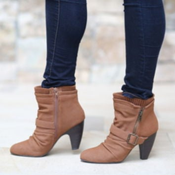 Rust Buckle Zip Booties CLEARANCE - Modern Vintage Boutique