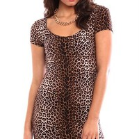 All over cheetah print cap sleeve bodycon day dress