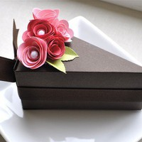 PAPER Chocolate cake slice favor box with two toned by imeondesign