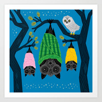Bats in Blankets Art Print by Oliver Lake