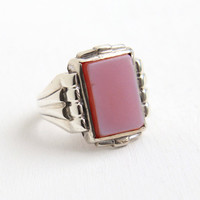Vintage Simulated Banded Agate Ring - Art Deco 1930s Hallmarked Uncas Size 11 Purple Pink Geometric Statement Jewelry