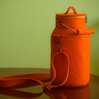 Orange Felt Milk Can Bag by krukrustudio on Etsy