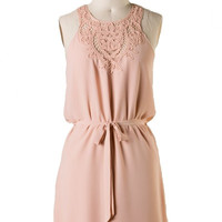 Laced and Found Tie Waist Dress - Almond | Daily Chic