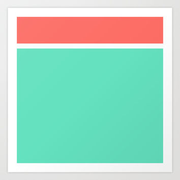 Coral/White/Teal Stripe Art Print by Bethany Mallick