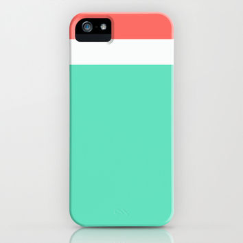 Coral/White/Teal Stripe iPhone & iPod Case by Bethany Mallick