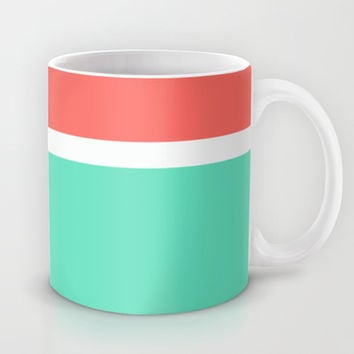Coral/White/Teal Stripe Mug by Bethany Mallick