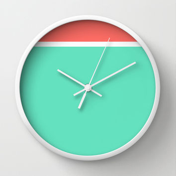 Coral/White/Teal Stripe Wall Clock by Bethany Mallick