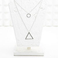 Circle Triangle Double Pendant in Silver - Urban Outfitters