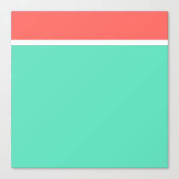 Coral/White/Teal Stripe Stretched Canvas by Bethany Mallick