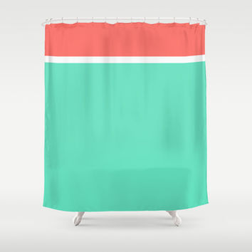 Coral/White/Teal Stripe Shower Curtain by Bethany Mallick