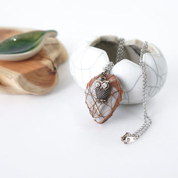 Wire Wrapped Brown Agate Stone Pendant with Cute Owl Charm, Raw Stone Jewelry, One Of A Kind