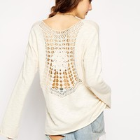ASOS Swing Top With Crochet Lace Back - Cream