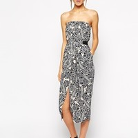 Warehouse Leaf Bandeau Midi Dress