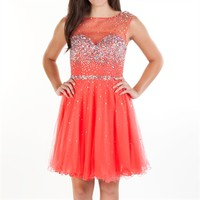 Bella™ Juniors Beaded Illusion Party Dress at Von Maur
