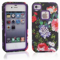 MagicSky PC + TPU Rose Flowers on Black Pattern Snug Fit Slim Impact Hybrid Case for Apple iPhone 4/4S - 1 Pack - Retail Packaging - Purple