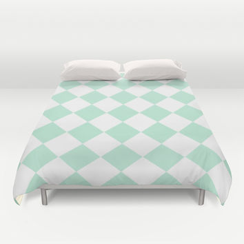 Diamond Mint Green & White Duvet Cover by BeautifulHomes | Society6