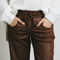Free People Womens Vegan Track Pant - Brown,