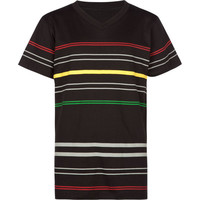 Blue Crown Road Stripe Boys T-Shirt Black  In Sizes